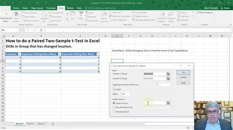 How to do a Paired Two-Sample t-Test in Excel 2016 (Mac