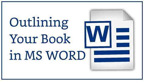 Outline Your Novel in Microsoft Word - YouTube