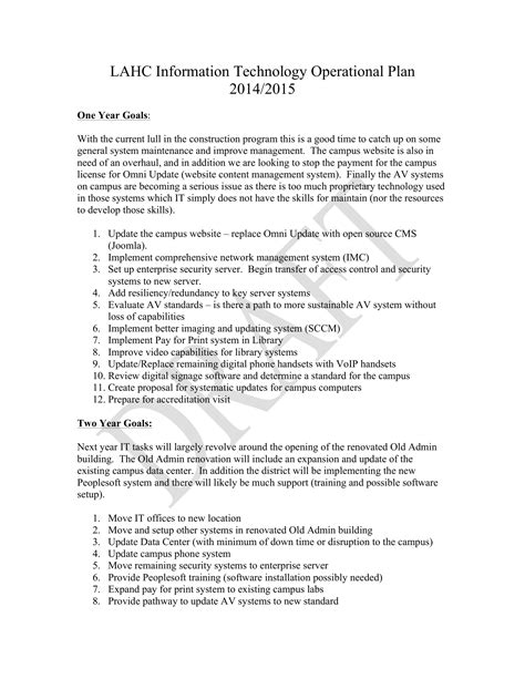 9+ IT Operational Plan Examples - PDF | Examples