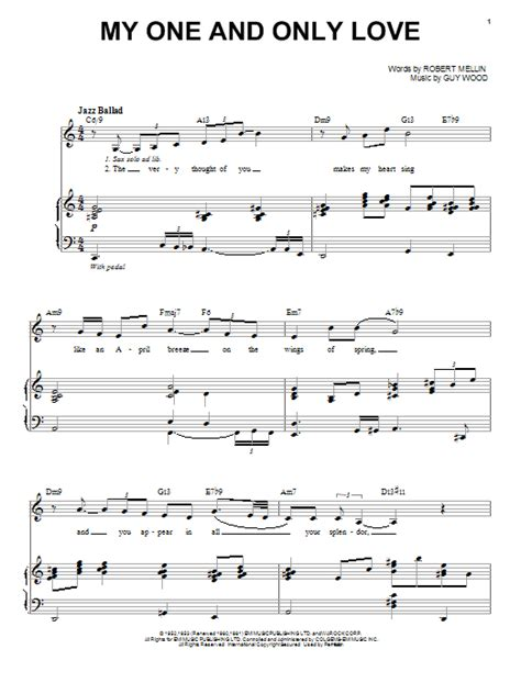My One And Only Love sheet music by Johnny Hartman (Piano
