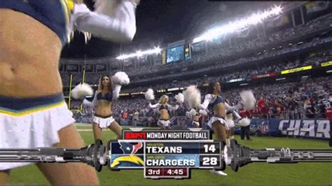 Chargers Cheerleader Gives ESPN Cameraman Reverse-Broncos